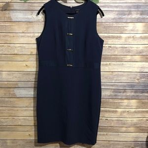 Ann Taylor navy dress with gold bows